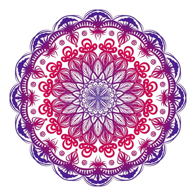 Färgrik dekorativ mandala Hand tecknad vektorillustration stock illustrationer