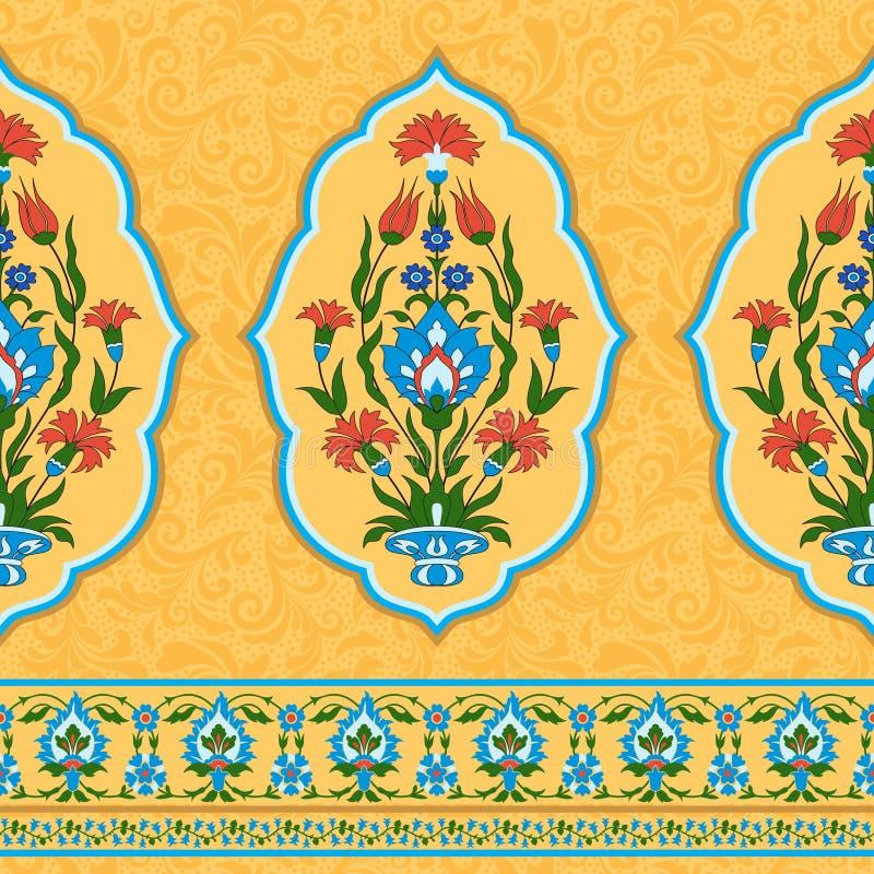 Färgrik dekorativ modell i östlig stil stock illustrationer