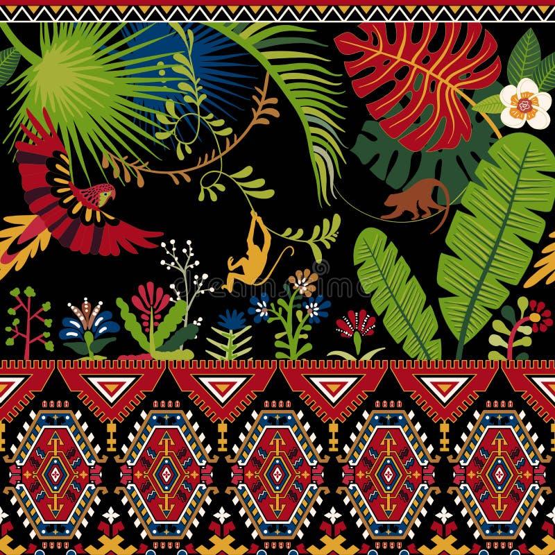Färgrik dekorativ modell med växter, blommor och prydnaden Tropisk tapet royaltyfri illustrationer