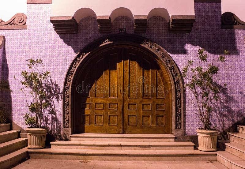 Färgrik dekorerad dörr av en forntida kyrka arkivbilder