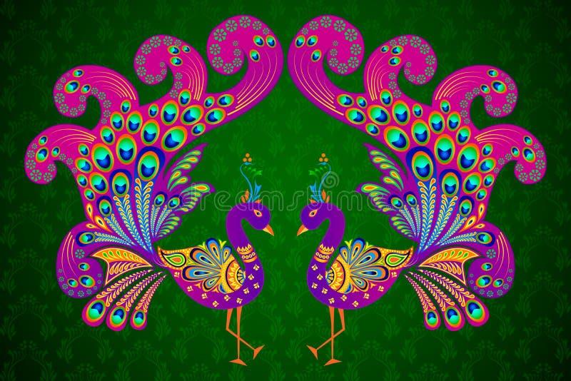Färgrik dekorerad påfågel royaltyfri illustrationer