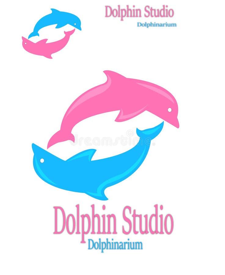 Färgrik delfinlogo arkivbilder