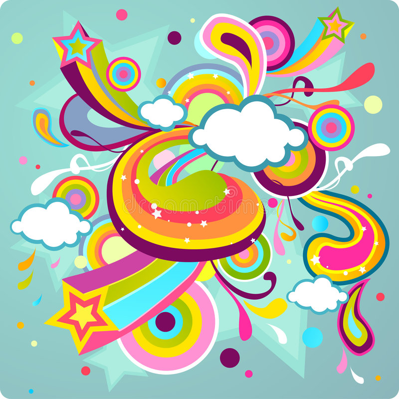 färgrik design stock illustrationer