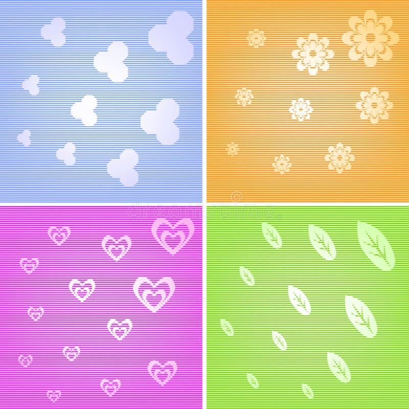 Färgrik design för 4 bakgrunder royaltyfri fotografi