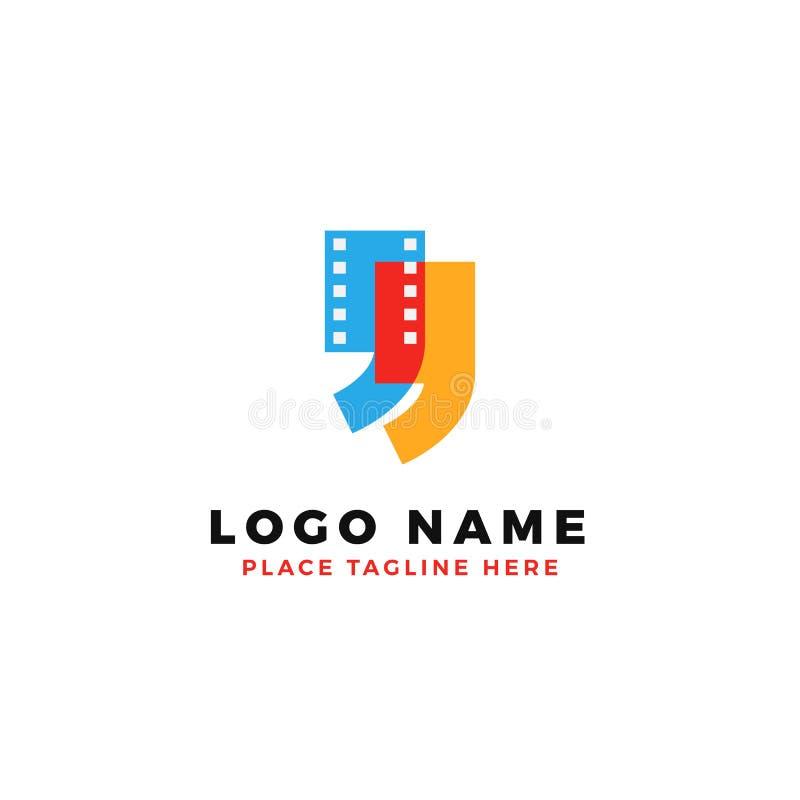 Färgrik design för logo för filmremsacitationstecken illustration för samtal för filmgranskning royaltyfri illustrationer