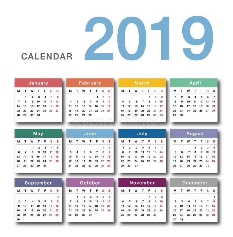 Färgrik design för mall 2019 för design för vektor för år för kalender enkel och ren, stock illustrationer