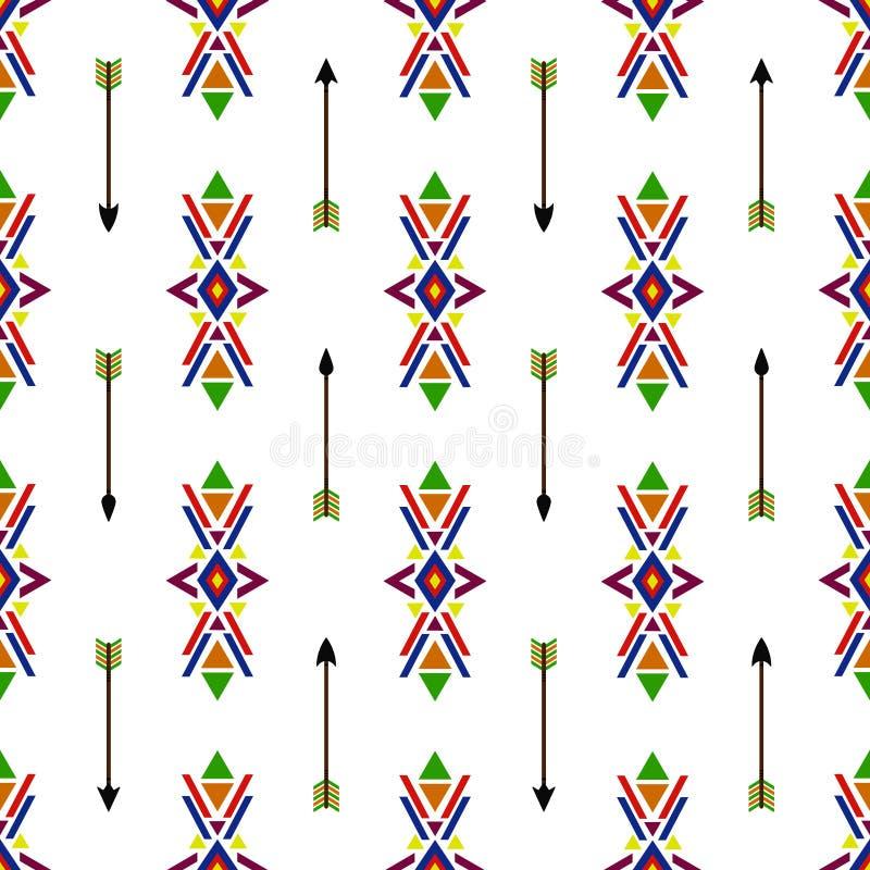 Färgrik design för sömlös geometrisk etnisk traditionell för Navajovektor för indian indisk för modell bakgrund för tappning retr stock illustrationer