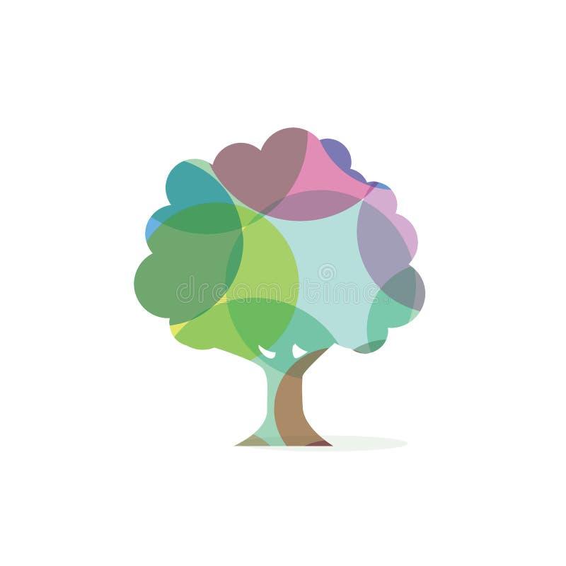 Färgrik design för symbol för vektor för julgran härlig och färgrik trädlogo, royaltyfria foton