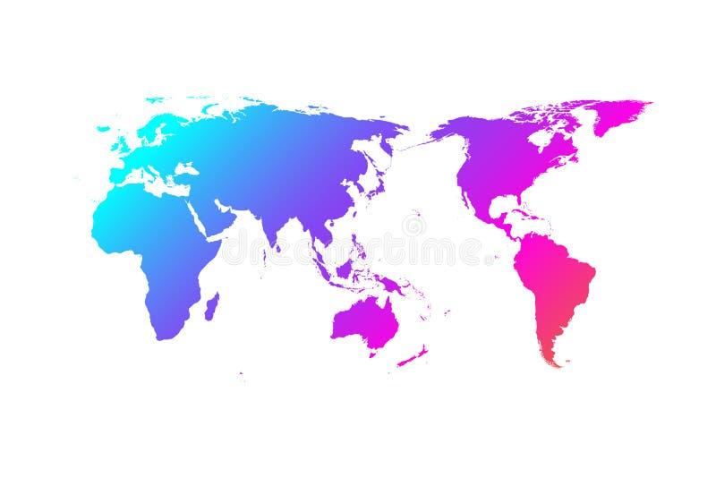 Färgrik design för världskartavektorlutning, Asien i mitt royaltyfri illustrationer