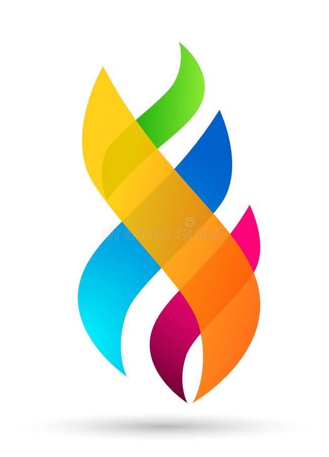 Färgrik design för vektor för beståndsdelar för natur för symbol för symbol för energi för flammalogobrand på vit bakgrund stock illustrationer