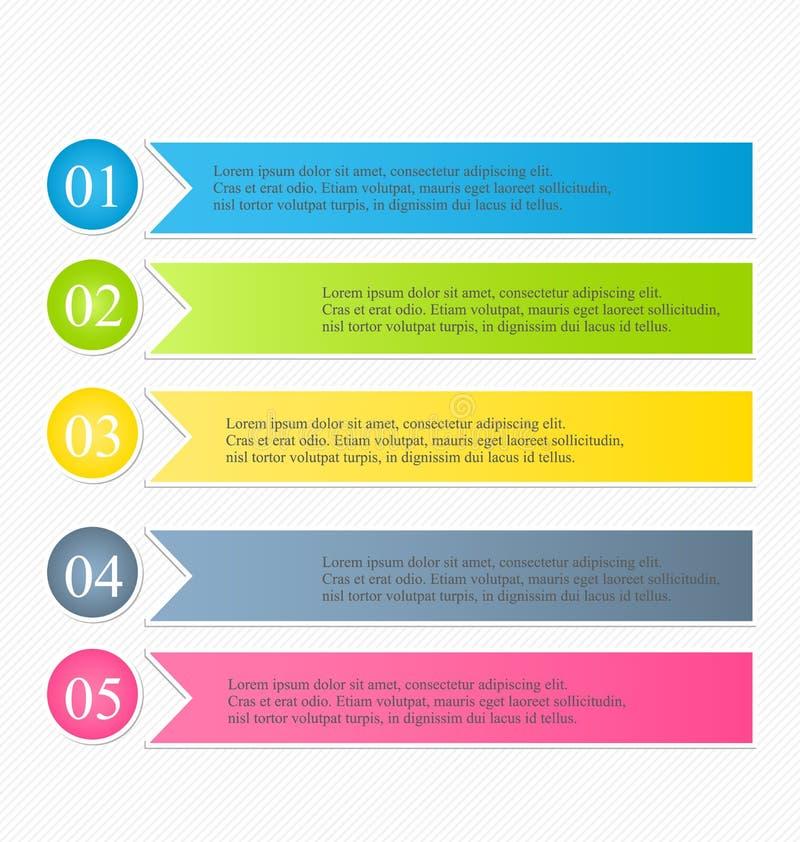 Färgrik designmall för modern infographics med skugga vektor illustrationer