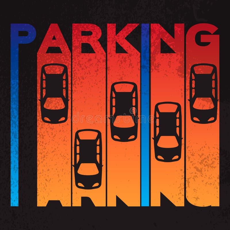 Färgrik designstil av häfte—parkering på texturerad bakgrund Parkeringsplatsdesign för bästa sikt stock illustrationer