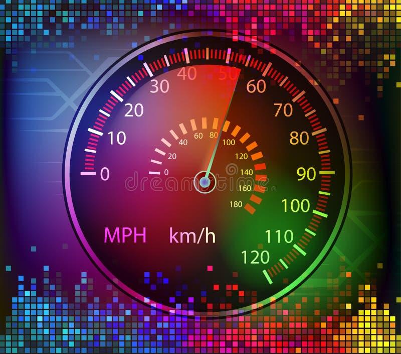 Färgrik digital vektor för ljud- och bilhastighetsmätarebakgrund royaltyfri illustrationer