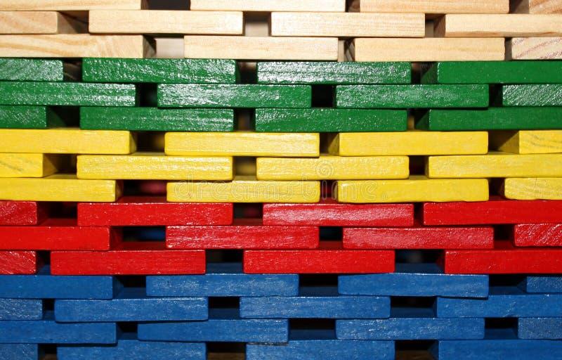 Färgrik dominobrickavägg royaltyfri fotografi