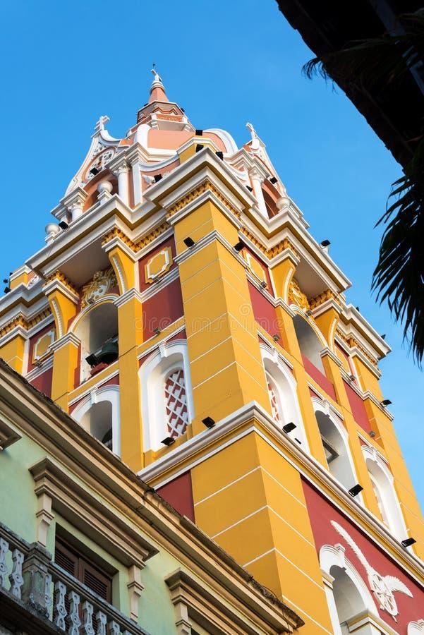 Färgrik domkyrka i Cartagena royaltyfri bild