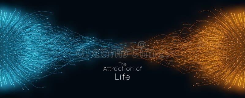 Färgrik dragning av liv Vektorförbindande partikelsvansar Små partiklar strävar till varandra Suddiga debrises stock illustrationer
