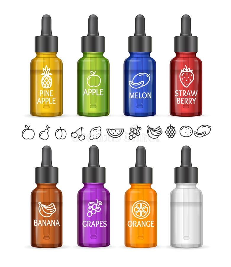 Färgrik E-flytande flaskuppsättning vektor royaltyfri illustrationer