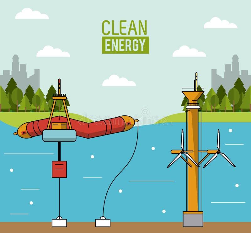 Färgrik energi för landskapbakgrundsvåg och tidvattens- makt vektor illustrationer