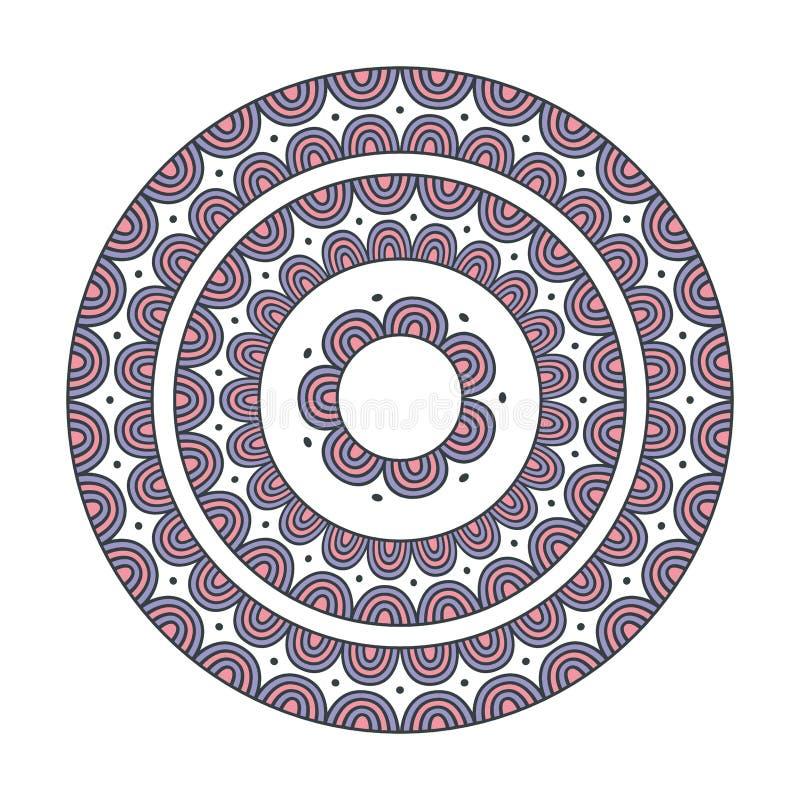 Färgrik etnisk mandala - dekorvektorbeståndsdel stock illustrationer