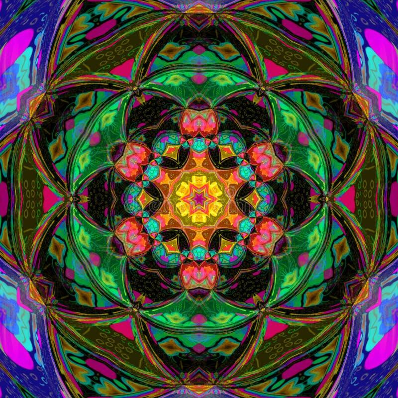 Färgrik etnisk mandala med dekorativa triangelbeståndsdelar arkivfoton