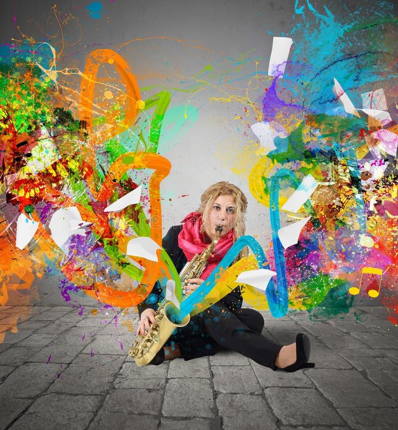 Färgrik explosionmusik royaltyfri fotografi
