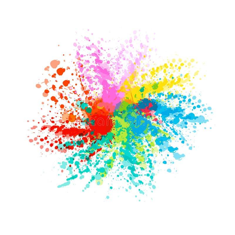 Färgrik färgstänk för vattenfärg Flerfärgad ljus fläck för vattenfärg W stock illustrationer