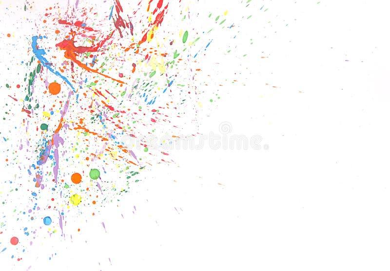 Färgrik färgstänk för vattenfärg på vit bakgrund arkivfoto