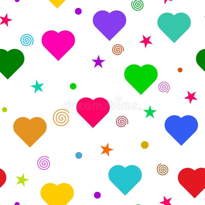 Färgrik förälskelse som är sömlös på vit bakgrund stock illustrationer