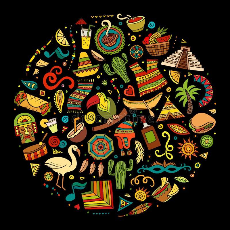 Färgrik för klottertecknad film för vektor hand dragen uppsättning av latin - amerikan stock illustrationer