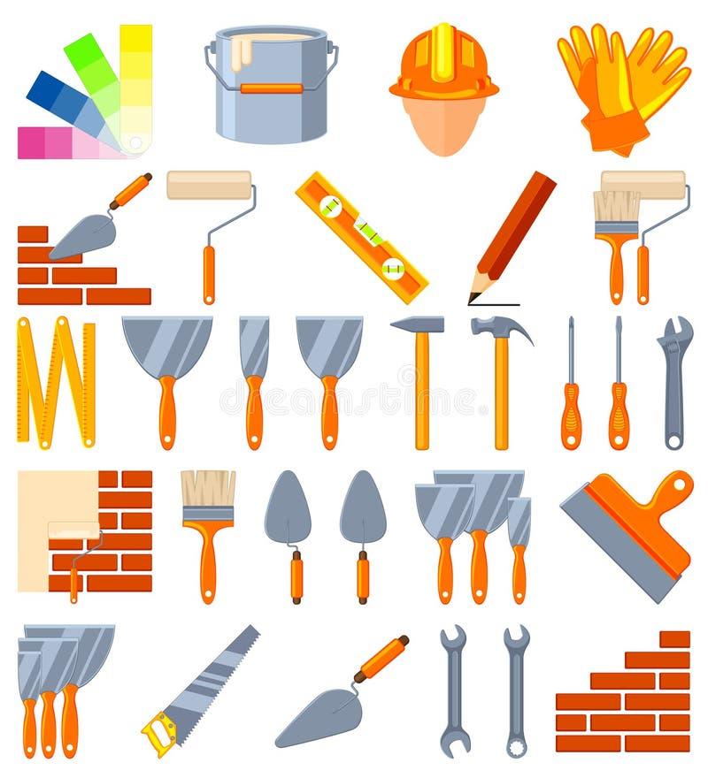 Färgrik för konstruktionsbeståndsdelar för tecknad film 30 uppsättning stock illustrationer