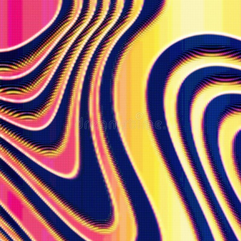 Färgrik förvriden ingreppsnivå för abstrakt vektor på mörk bakgrund Futuristiskt stilkort stock illustrationer