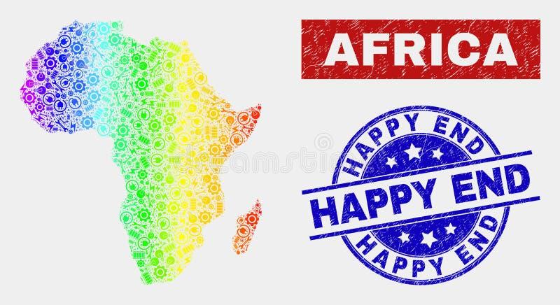Färgrik fabriksAfrika översikt och lyckliga slutstämplar för Grunge royaltyfri illustrationer