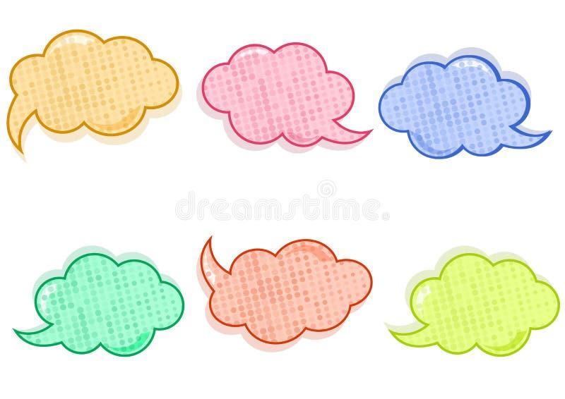 Färgrik fastställd dialogask, baneruppsättning Kulört tomt moln med prickar vektor vektor illustrationer