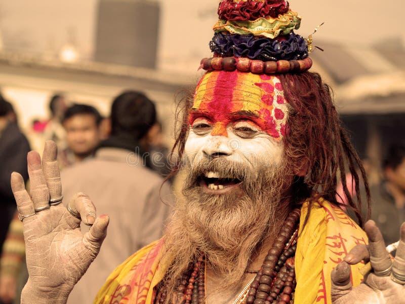 färgrik festivalsadhushivaratri royaltyfri fotografi