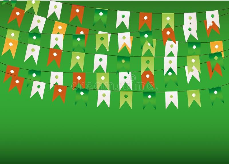 Färgrik festlig bunting med växt av släktet Trifolium Irländsk ferie - Patrick dag stock illustrationer