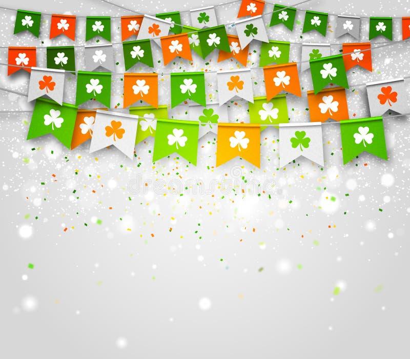 Färgrik festlig bunting med växt av släktet Trifolium på ljus bakgrund Dag för St Patrick ` s vektor illustrationer