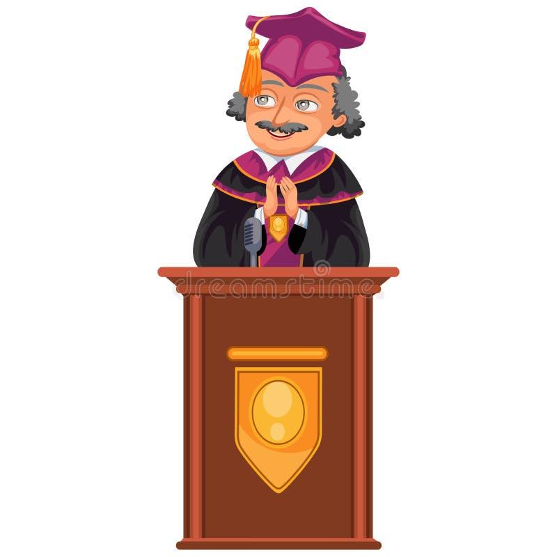Färgrik fet affisch för Congrats avläggande av examengrupp Caucasian professor som gratulerar kandidatvektorillustrationen vektor illustrationer
