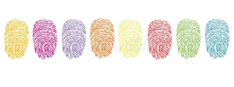Färgrik fingeravtrycksymbolvektor royaltyfri illustrationer