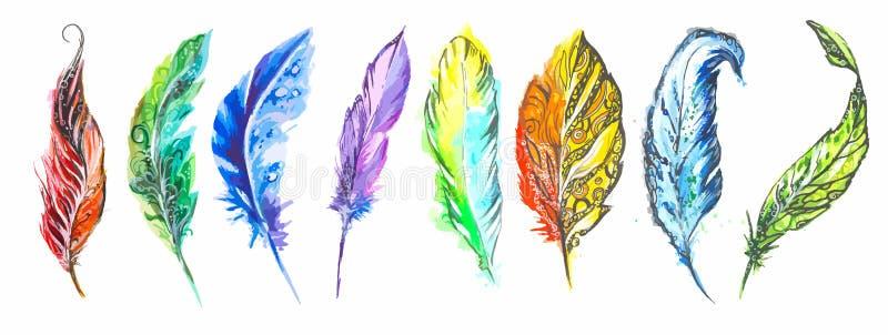 Färgrik fjäderuppsättning för vattenfärg stock illustrationer