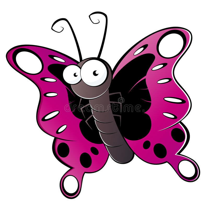 färgrik fjärilstecknad film stock illustrationer
