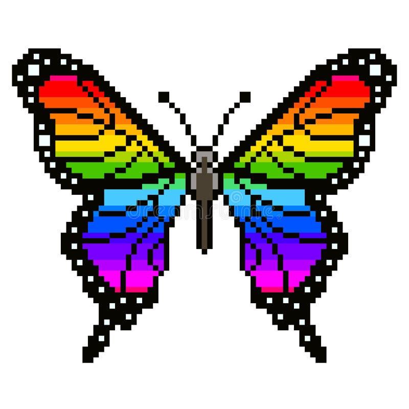 Färgrik fjärilsvektor för PIXEL stock illustrationer