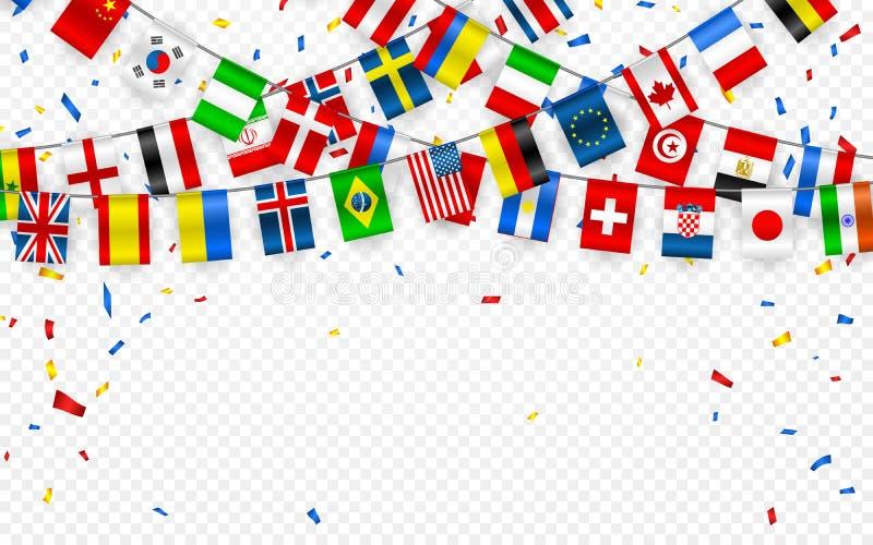 Färgrik flaggagirland av olika länder av Europaet och världen med konfettier Festliga girlander av den internationella standerten royaltyfri illustrationer
