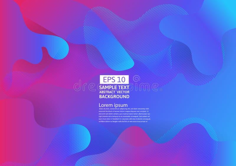 Färgrik flytande och geometrisk abstrakt bakgrund Vätskelutningen formar futuristisk design för sammansättning vektor illustrationer