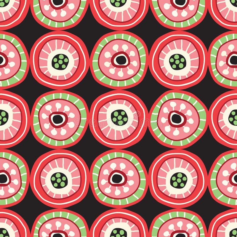 Färgrik Folkcirkelmosaik på sömlös modell för mörk bakgrundsvektor Djärvt hand-dragit geometriskt tryck stock illustrationer