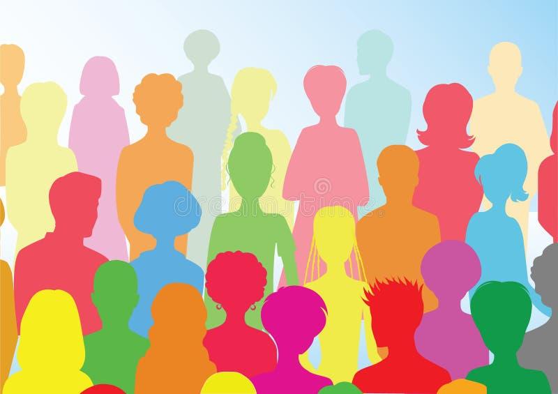 färgrik folkmassa stock illustrationer