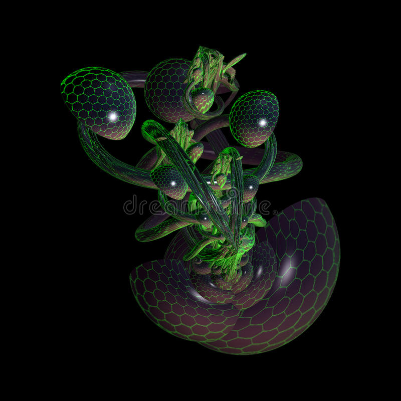 Färgrik Fractaldesign för abstrakt begrepp 3D stock illustrationer
