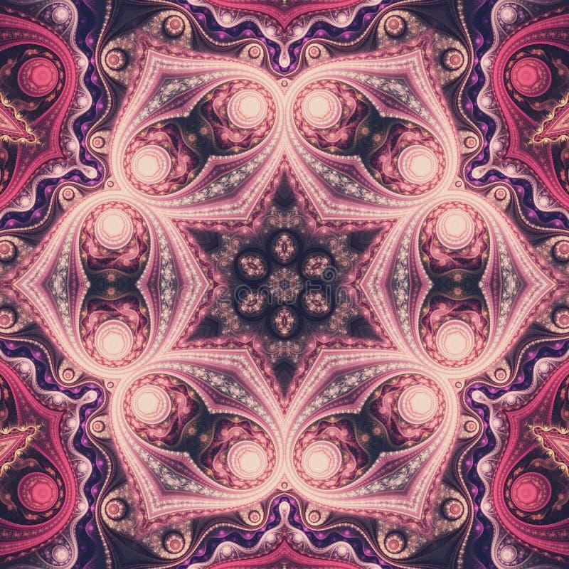 Färgrik fractalmandala stock illustrationer