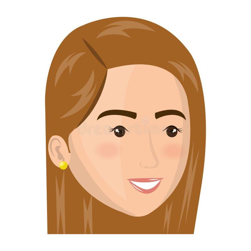Färgrik framsida för kvinna för kontursidosikt royaltyfri illustrationer