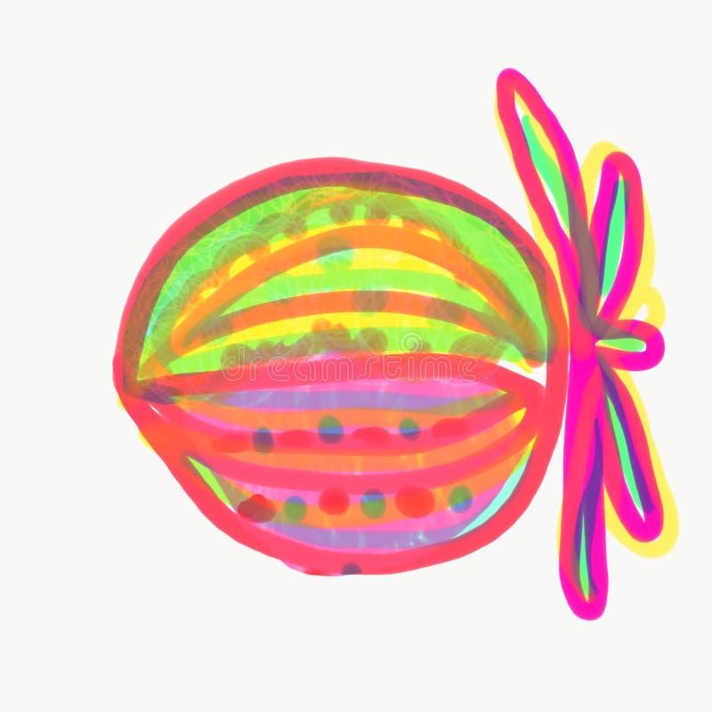 Färgrik frukt målade med den vattenfärg och pennan stock illustrationer