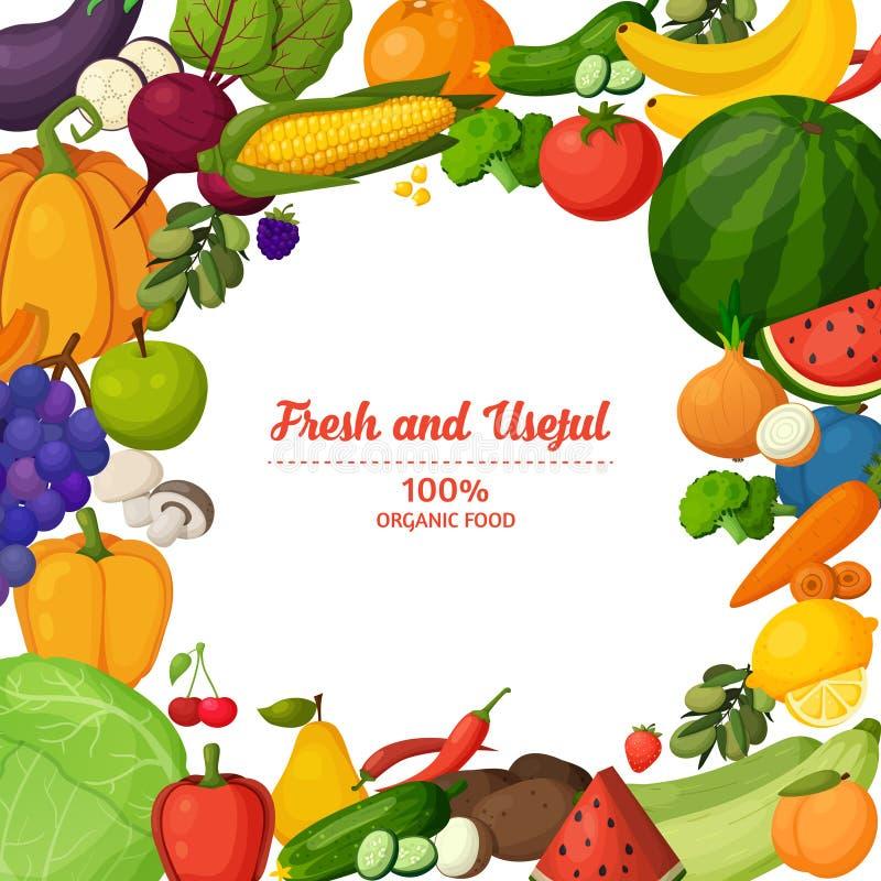 Färgrik frukt- och grönsakbakgrund royaltyfri illustrationer